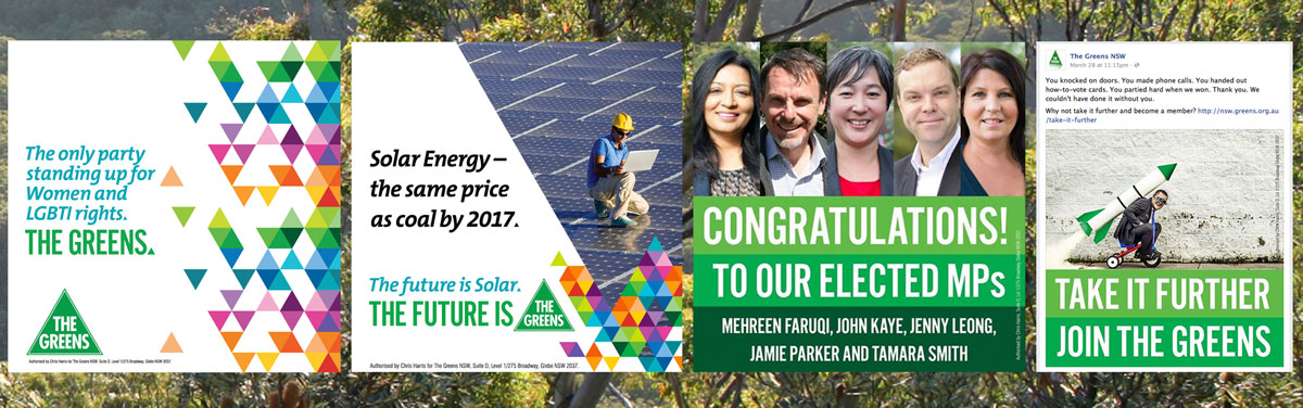 Social media materials for the state election 2015, guru orange for NSW Greens.