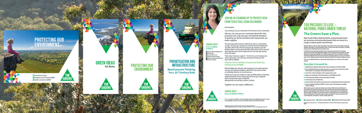 Print materials for the state election 2015, guru orange for NSW Greens.