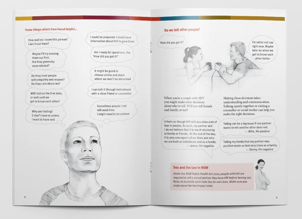 Brochure 'Life, Loving and HIV' for Pozhet, by Guru Orange