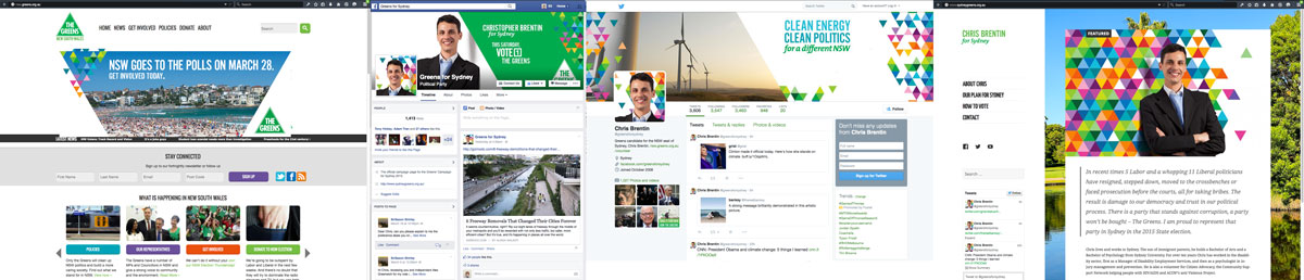 Website materials for the state election 2015, guru orange for NSW Greens.