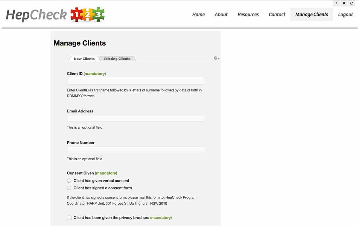 HepCheck 1 2 3 website by Guru Orange: backend overview