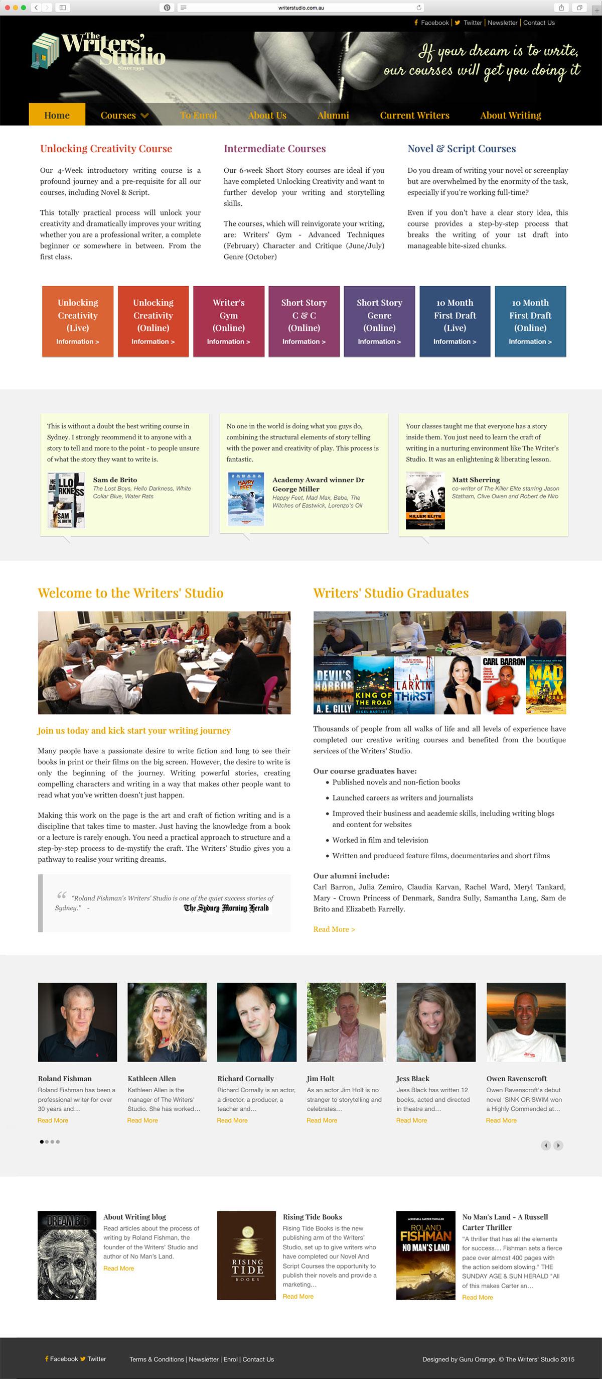 The Writers' Studio website update by Guru Orange
