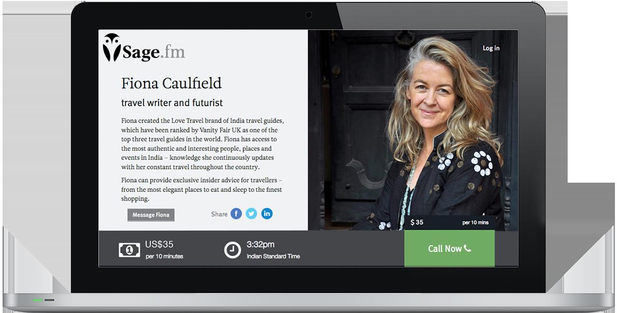 Sage.fm, an online video conversation platform designed by Guru Orange: profile page example