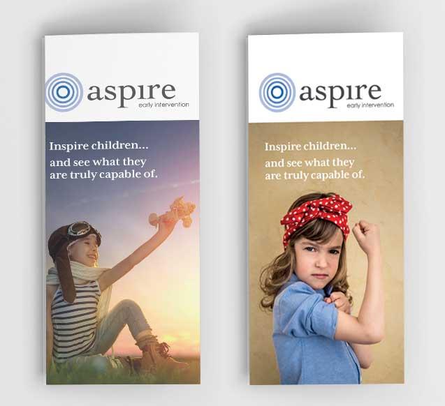 Aspire Early Intervention marekting materials update, design by guru | orange
