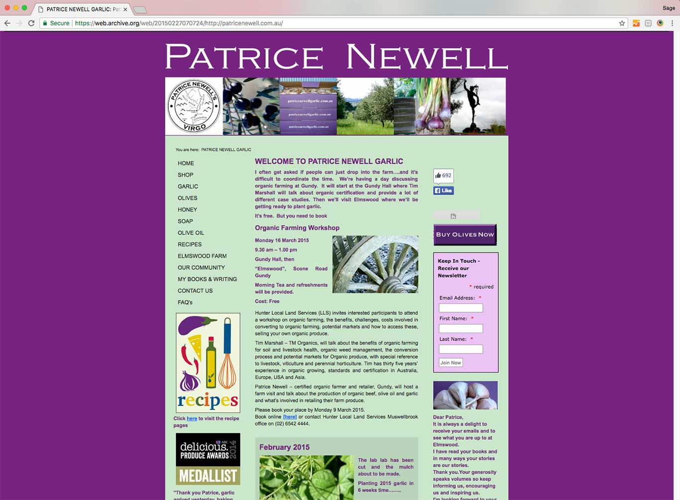 Patrice Newell | biodynamic food delivered to your door - old site